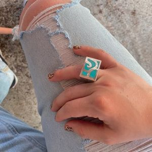 Vintage .925 Sterling Silver Turquoise Native Ring